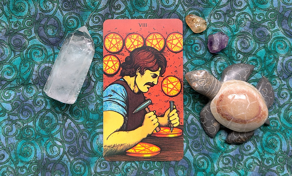 Eight of Pentacles from the Morgan-Greer Tarot Deck