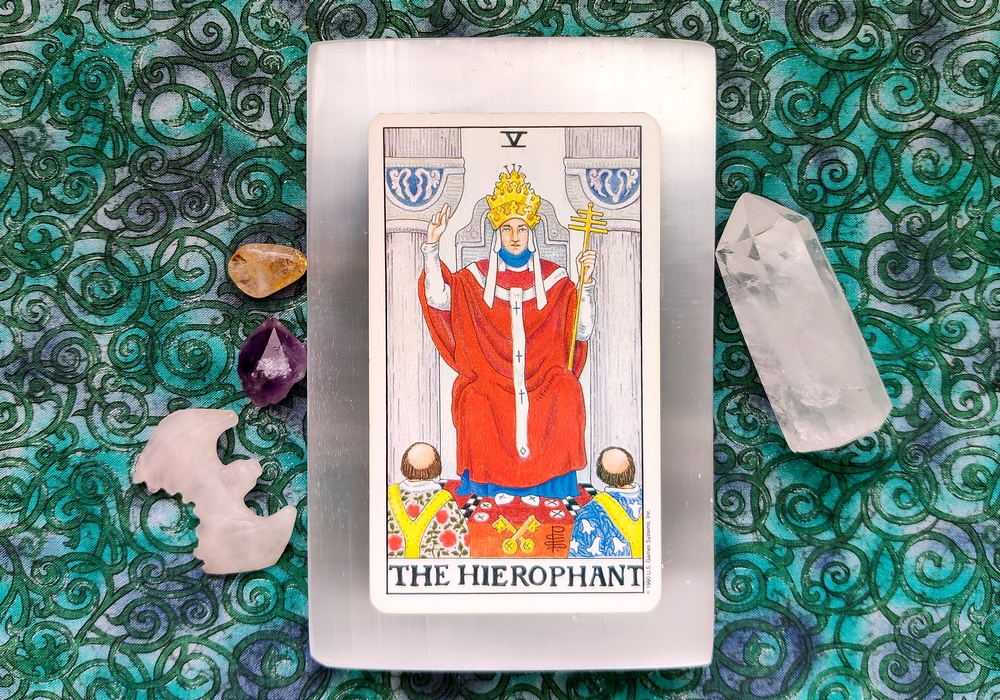 The Hierophant card from the Universal Waite Tarot Deck.