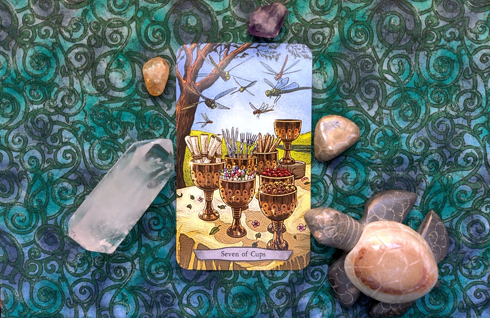Seven of Cups from Animal Totem Tarot.