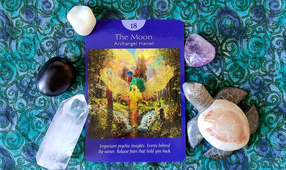 The Moon - Archangel Haniel from Angel Tarot Cards.