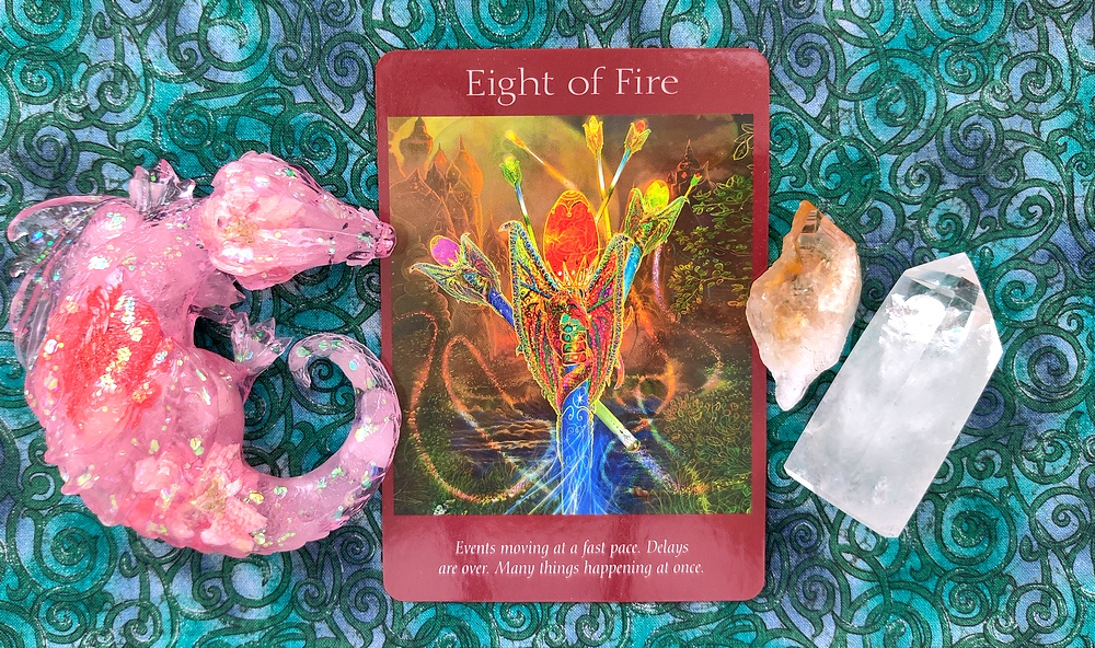 Eight of Fire card from Angel Tarot Cards.